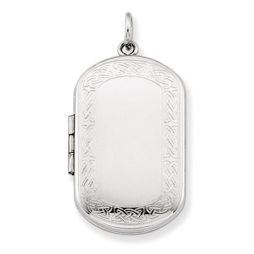 Celtic Border Rectangular Locket Sterling Silver QLS574