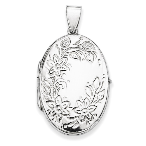 34mm Floral Locket Sterling Silver QLS60