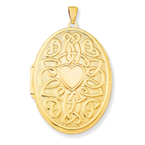 Celtic Heart 38mm Oval Locket 14k Yellow Gold XL385