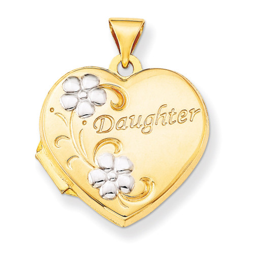 Daughter Floral 18mm Heart Locket 14k Gold & Rhodium XL469