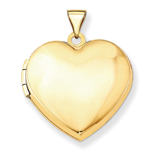 21mm Heart Domed Plain Locket 14k Yellow Gold XL516