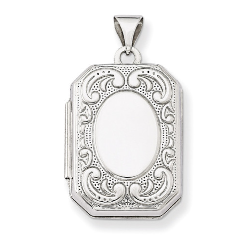 20mm Book Scroll Border Locket 14k White Gold XL558