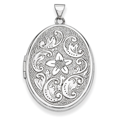 32mm Oval Flower With Scrolls Locket 14k White Gold XL580