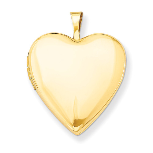 Plain Polished Heart Locket 14k Gold 20mm XL588