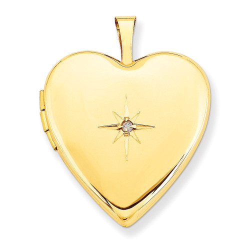 Diamond Heart Locket 14k Gold 20mm XL590