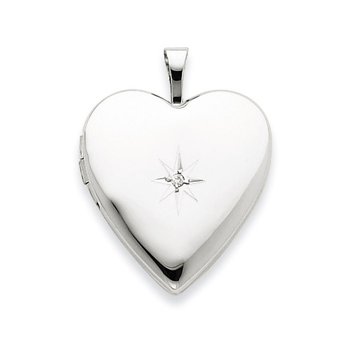 Diamond Heart Locket 14k White Gold 20mm XL591