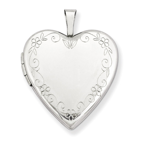 Flower Vine Border Heart Locket 14k White Gold 20mm XL599
