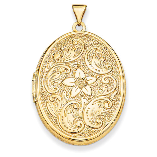 32mm Oval Flower With Scrolls Locket 14k Yellow Gold XL619