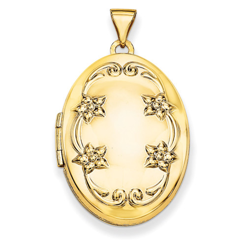 26mm Oval Floral Scroll Border Locket 14k Yellow Gold XL621