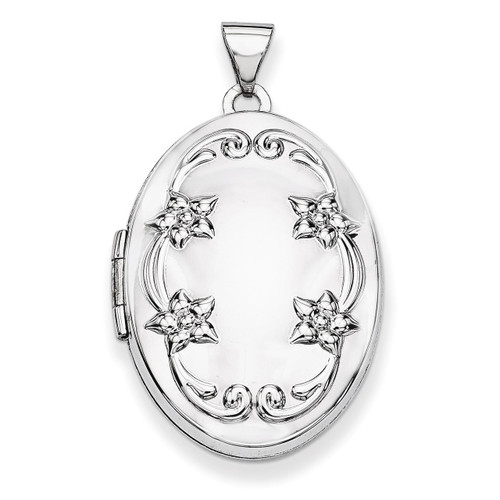 26mm Oval Floral Scroll Border Locket 14k White Gold XL622