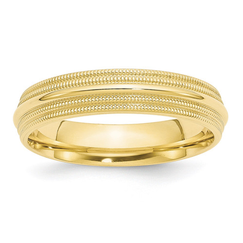 5mm Double Milgrain Comfort Fit Band 10k Yellow Gold Engravable 1DMC050-10