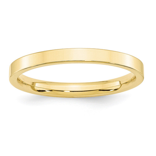 2.5mm Standard Flat Comfort Fit Band 10k Yellow Gold Engravable 1FLC025-10