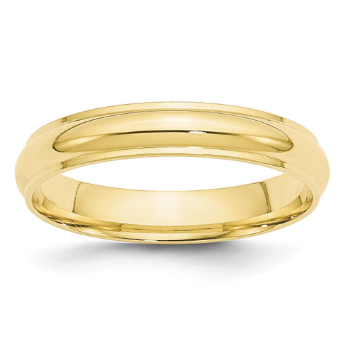 4mm Half Round with Edge Band 10k Yellow Gold Engravable 1HRE040-10