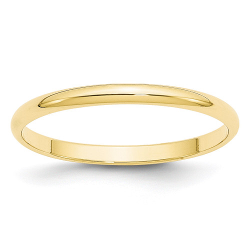 2mm Lightweight Half Round Band 10k Yellow Gold Engravable 1HRL020-9