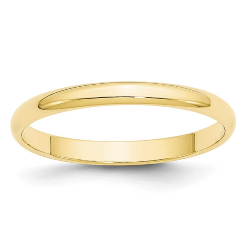 2.5mm Lightweight Half Round Band 10k Yellow Gold Engravable 1HRL025-10