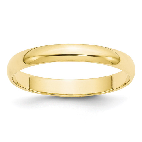 3mm Lightweight Half Round Band 10k Yellow Gold Engravable 1HRL030-10
