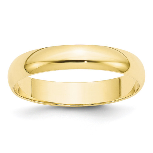 4mm Lightweight Half Round Band 10k Yellow Gold Engravable 1HRL040-10