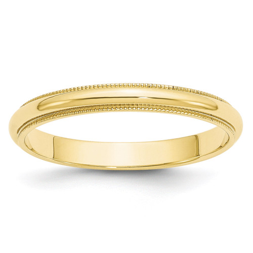 3mm Milgrain Half Round Band 10k Yellow Gold Engravable 1M030-10