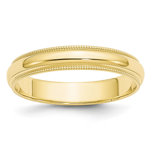 4mm Milgrain Half Round Band 10k Yellow Gold Engravable 1M040-10