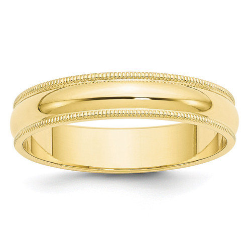 5mm Milgrain Half Round Band 10k Yellow Gold Engravable 1M050-10