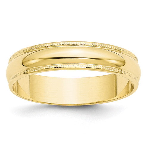 5mm Lightweight Milgrain Half Round Band 10k Yellow Gold Engravable 1ML050-7