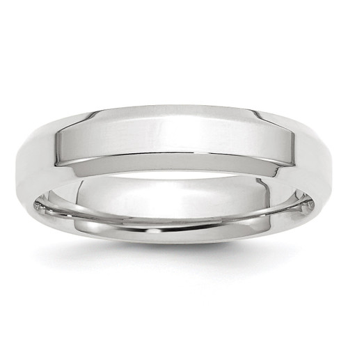 5mm Bevel Edge Comfort Fit Band 10k White Gold Engravable 1WBEC050-10