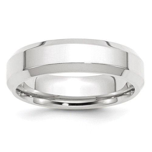 6mm Bevel Edge Comfort Fit Band 10k White Gold Engravable 1WBEC060-10
