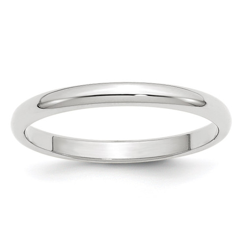 2.5mm Half Round Band 10k White Gold Engravable 1WHR025-14