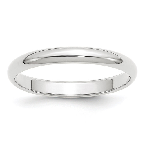 3mm Half Round Band 10k White Gold Engravable 1WHR030-10