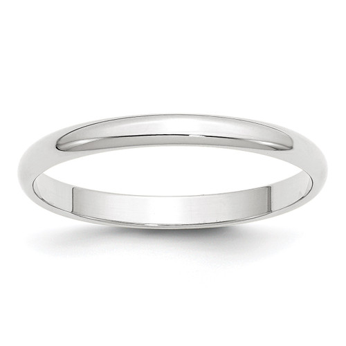 2.5mm Lightweight Half Round Band 10k White Gold Engravable 1WHRL025-10