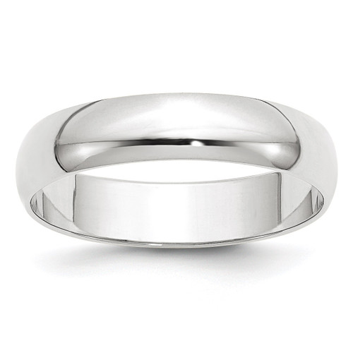 5mm Lightweight Half Round Band 10k White Gold Engravable 1WHRL050-10