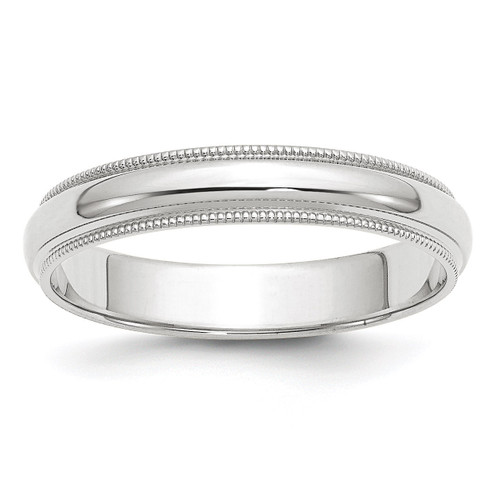 4mm Milgrain Half Round Band 10k White Gold Engravable 1WM040-9