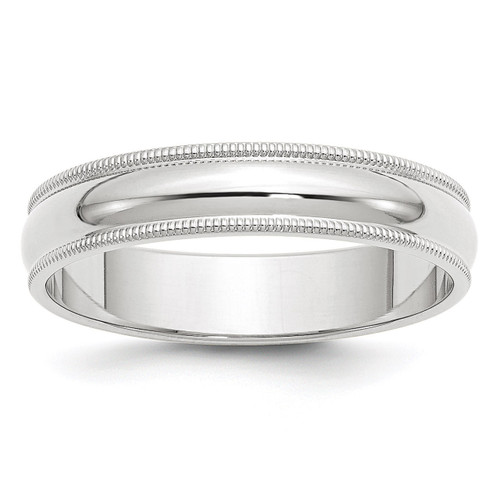 5mm Milgrain Half Round Band 10k White Gold Engravable 1WM050-10