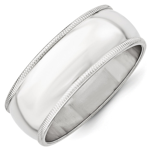 8mm Milgrain Half Round Band 10k White Gold Engravable 1WM080-10