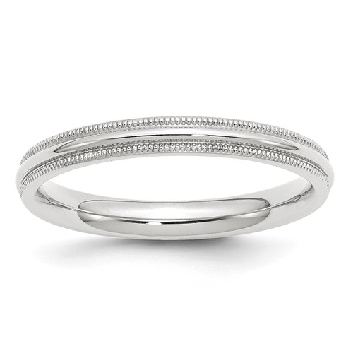 3mm Milgrain Comfort Fit Band 10k White Gold Engravable 1WMC030-10
