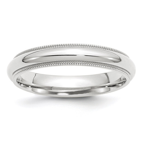 4mm Milgrain Comfort Fit Band 10k White Gold Engravable 1WMC040-10