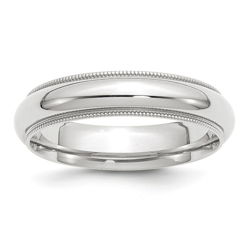 5mm Milgrain Comfort Fit Band 10k White Gold Engravable 1WMC050-10