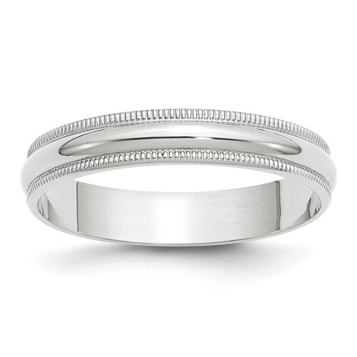 4mm Lightweight Milgrain Half Round Band 10k White Gold Engravable 1WML040-10