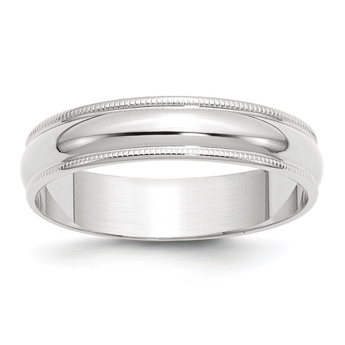 5mm Lightweight Milgrain Half Round Band 10k White Gold Engravable 1WML050-10