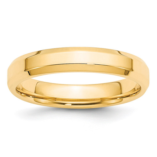 4mm Bevel Edge Comfort Fit Band 14k Yellow Gold Engravable BEC040-10