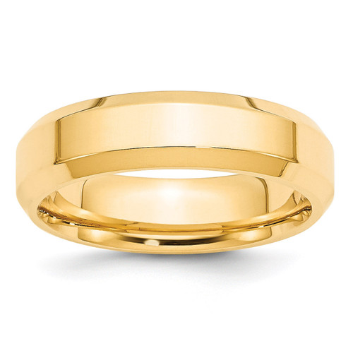 6mm Bevel Edge Comfort Fit Band 14k Yellow Gold Engravable BEC060-5.5
