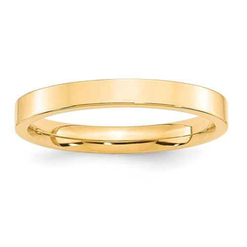 3mm Standard Flat Comfort Fit Band 14k Yellow Gold Engravable FLC030-10
