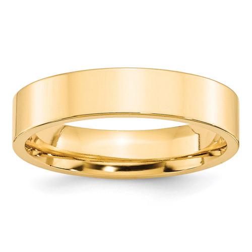 5mm Standard Flat Comfort Fit Band 14k Yellow Gold Engravable FLC050-10