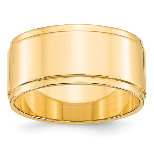 10mm Flat with Step Edge Band 14k Yellow Gold Engravable FLE100-11.5