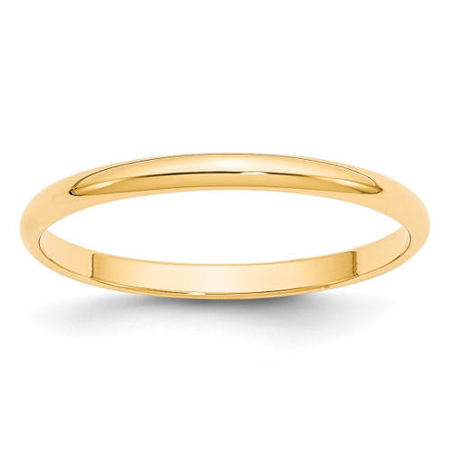 2mm Lightweight Half Round Band 14k Yellow Gold Engravable HRL020-10