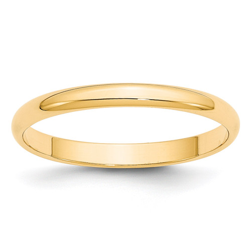 2.5mm Lightweight Half Round Band 14k Yellow Gold Engravable HRL025-10