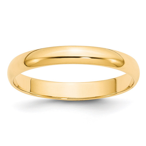 3mm Lightweight Half Round Band 14k Yellow Gold Engravable HRL030-10