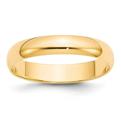 4mm Lightweight Half Round Band 14k Yellow Gold Engravable HRL040-10