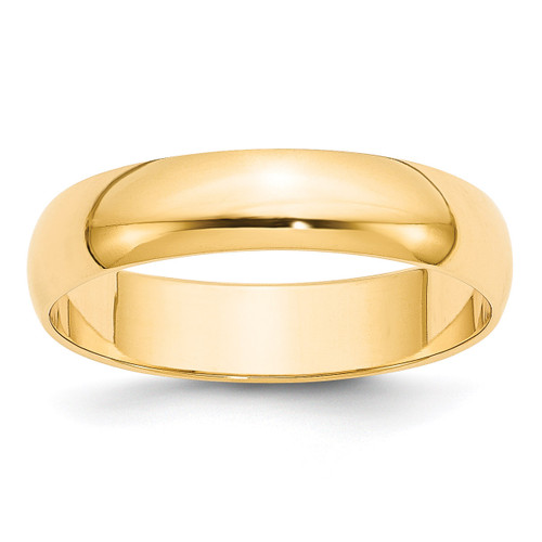 5mm Lightweight Half Round Band 14k Yellow Gold Engravable HRL050-10