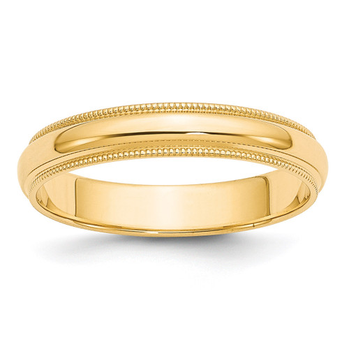 4mm Milgrain Half-Round Wedding Band 14k Gold Engravable M040-10